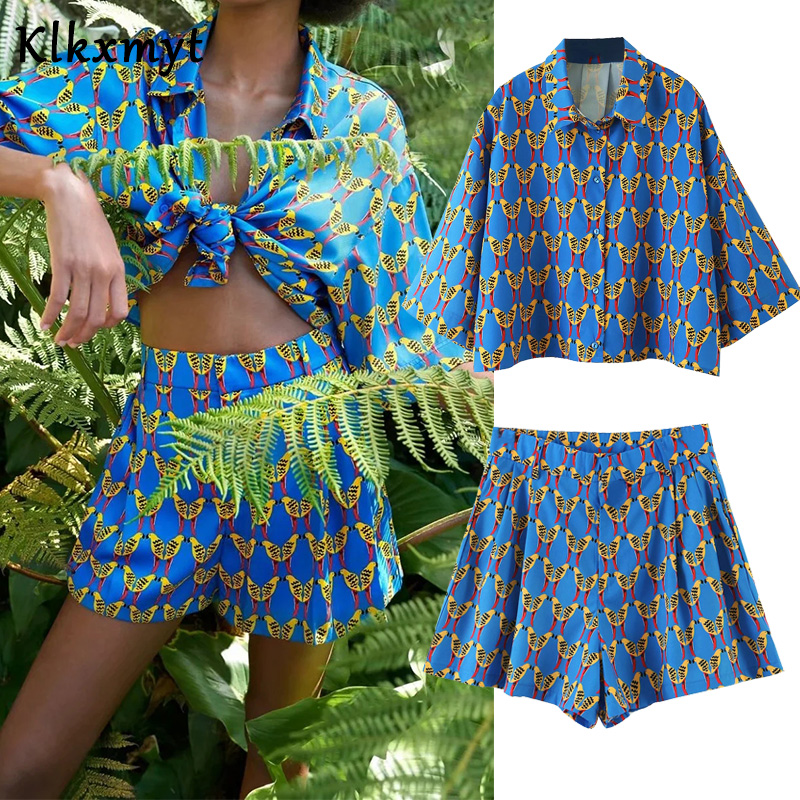 Klkxmyt Two Piece Set Women Summer Loose Fashion Print Batwing Short Sleeve Beach Cropped Blouse+Elastic Waist Casual Shorts Set Women