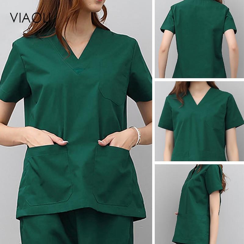 Solid Color Medical Costumes Nurse Uniform V-neck Clinical Uniforms Woman Lab Surgical Suit Medical Uniforms Man Surgical Top