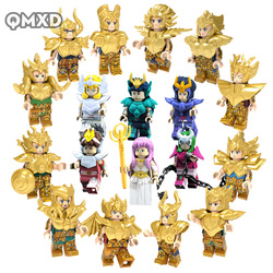 18pcs Saint Seiya Collection Gold Saint Athena Glacier Japanese Anime Constellation Mini Man Bricks Blocks Toys  legoing  model