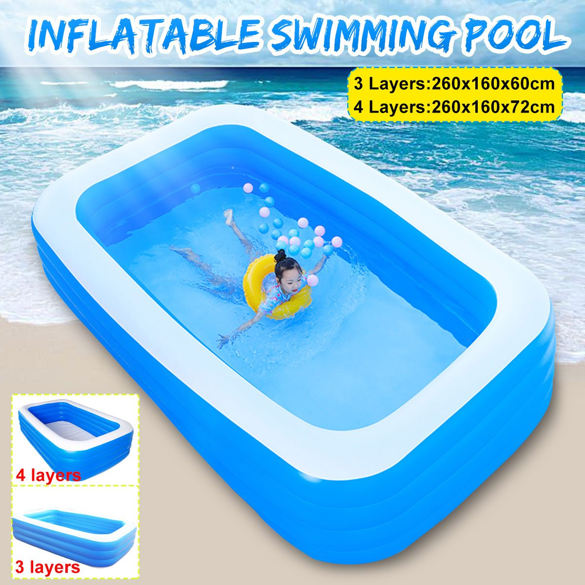 3/4 Layers Children Bathing Tub Baby Home Use Paddling Pool Inflatable Square Swimming Pool Kids Inflatable Pool 260x160x60/72cm