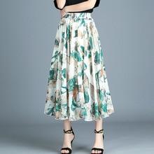 2019 Summer Woman Korean Style High Waist Vintage Floral Print Chiffon Long Skirt Mid-calf Elastic Waist Slim Fit Pleated Skirt недорого