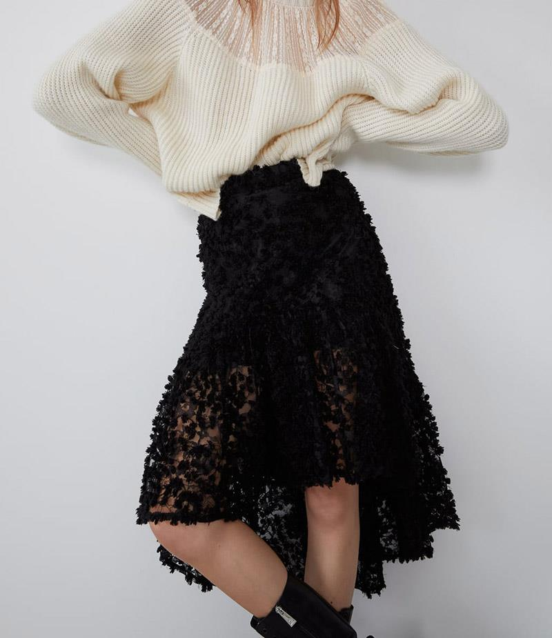 European Sheet Autumn Personality Paragraph Embroidered Laminated Women's Lace Decoration Non-symmetrical Hem Black Overskirt
