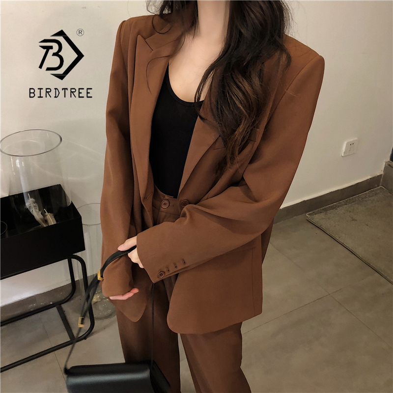 New Arrival Women Dark Khaki Solid 2 Piece Set Notched Blazer High Waist Wide Leg Pants Chic Suit Female Korean Style S9O501F