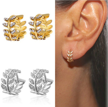 2019 Fashion Jewelry Leaf You Earring Soorbellen Woman Crystal Zircon Ear Clip Product Copper Metal Cubic Zirconia Pendientes 0K