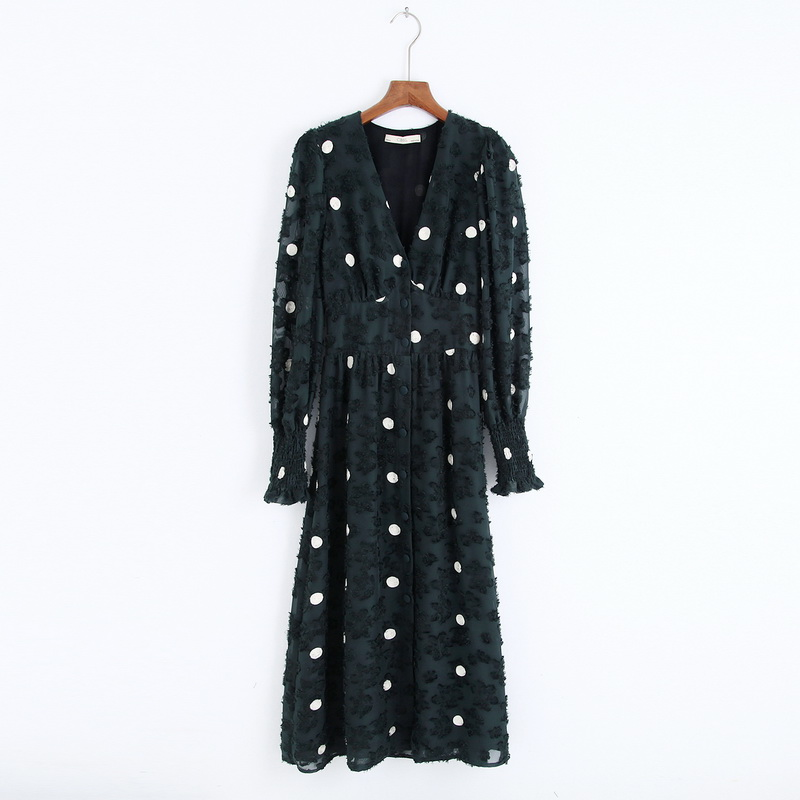 Stylish Women Dress Autumn 2019 New Fashion Blackish Green Jacquard Embroidery White Dot Modern Lady Shine Through Dresses