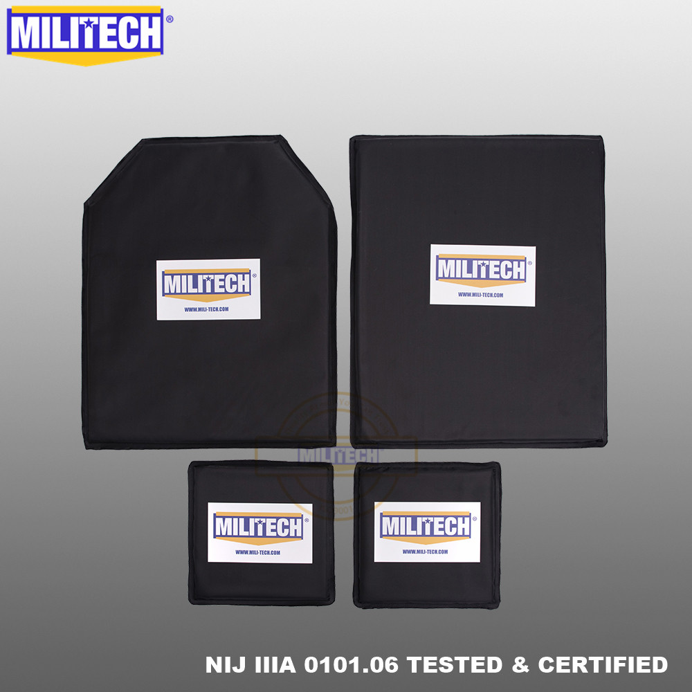MILITECH Bulletproof Aramid Ballistic Panel Plate Inserts Body Armor NIJ Level IIIA 3A 11 X 14 STC&SC And 6 X 6 Pairs Set
