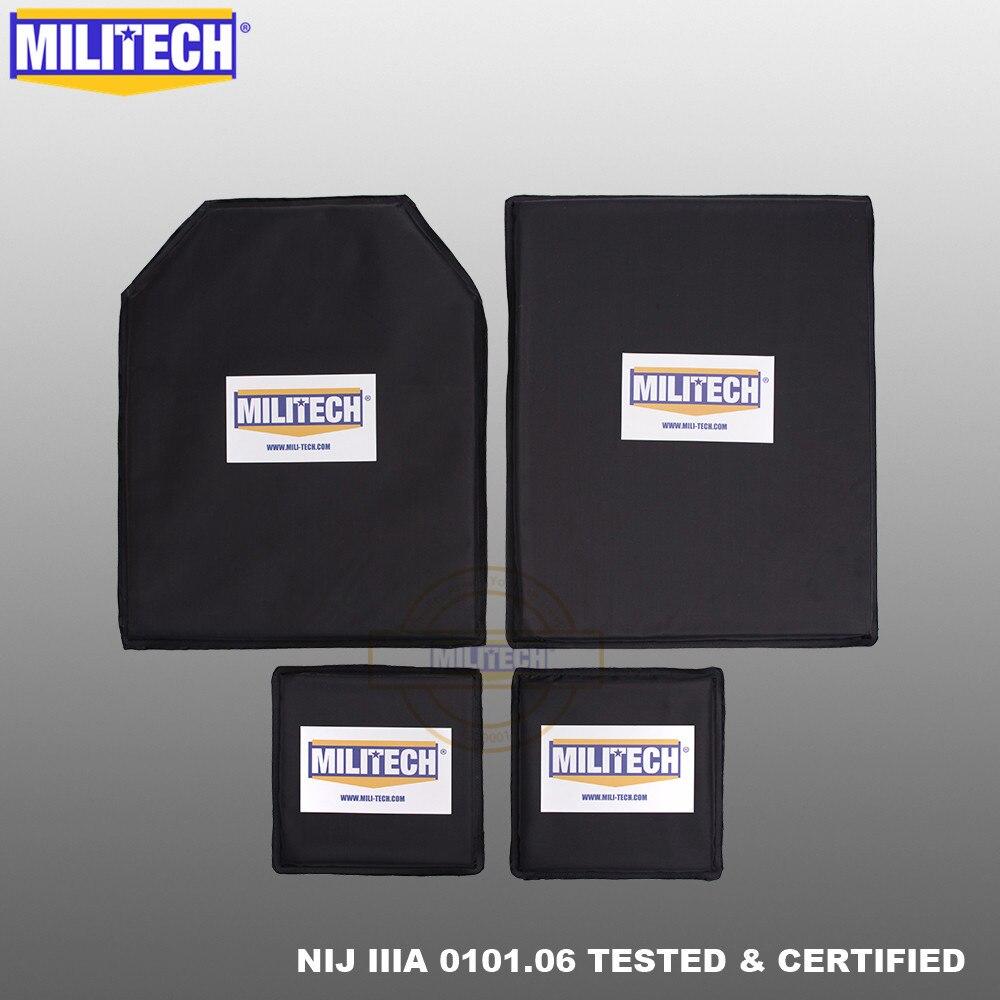 MILITECH Bulletproof Aramid Ballistic Panel Plate Inserts Body Armor NIJ Level IIIA 3A 11 X 14 STC&SC And 6 X 6 Pairs Set