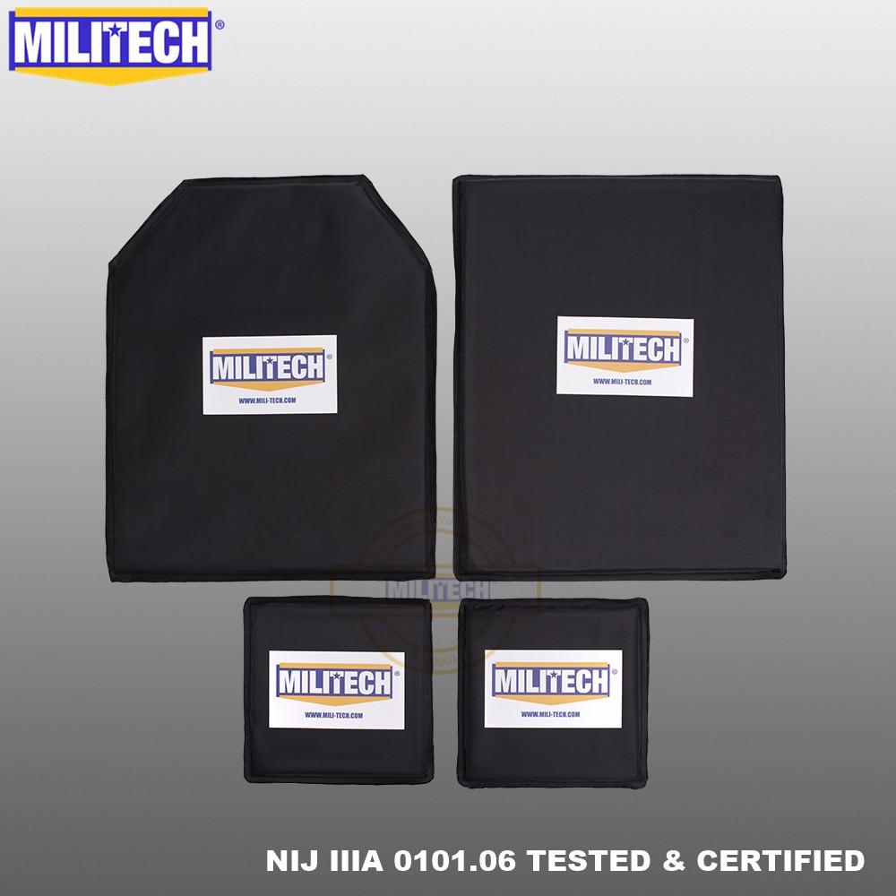 MILITECH Bulletproof Aramid Soft Ballistic Panel Plate Inserts Body Armor NIJ Level IIIA 3A 11 X 14 STC&SC And 6 X 6 Pairs Set