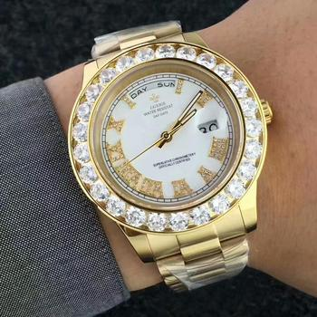 LGXIGE Men's Big Diamond Luxury Roman Numbers Stainless Steel Calendar Date Display Waterproof Watches 3