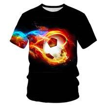 Camiseta 3D con estampado divertido de Futbol de fuego para Ninos y niñas, camisetas geniales para Ninos's 4 a 12 anos, vera