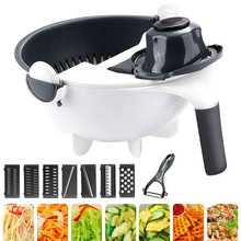 9 In 1 Washing Manual Vegetable Cutter Kitchen Tools Drain Water Home Slicing Restaurant PP Nonslip Stable Foot Rotatable