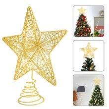 Золотые блестящие украшения для рождественской елки, железные звезды, рождественские украшения для дома, украшения для рождественской елк...