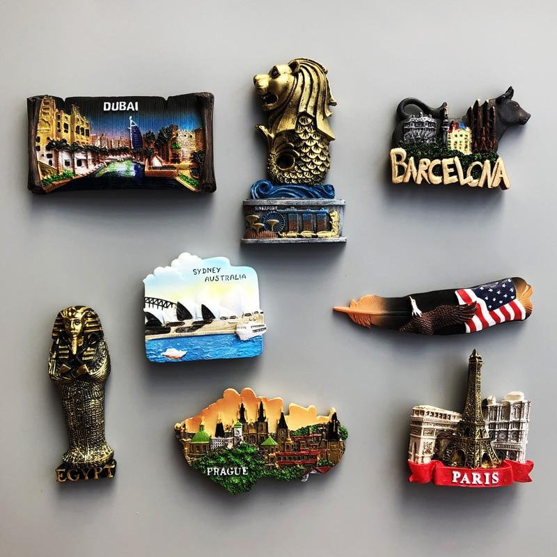 Souvenir Country Fridge Magnets Dubai Sydney French Egypt Travel Commemorative Decoration Refrigerator Magnet Birthday Gift(China)