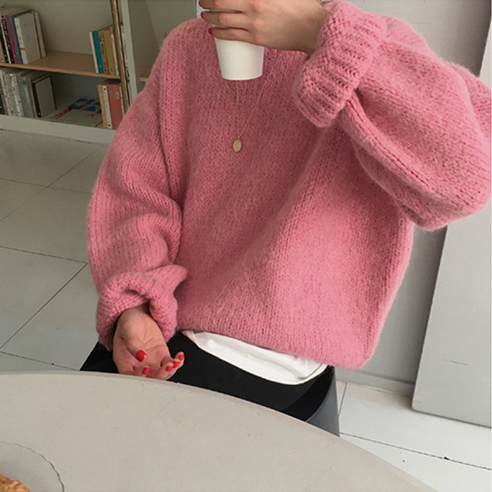 New Pink Winter Sweater Women Pullover Girls Tops Knitting Vintage Autumn Elegant Female Knitted Outerwear Warm Sweater