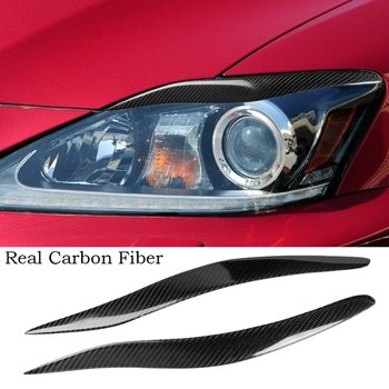 Real Carbon fiber Headlight Eyelids Eyebtrow Trim For Lexus IS250 IS300 IS200 2006-12