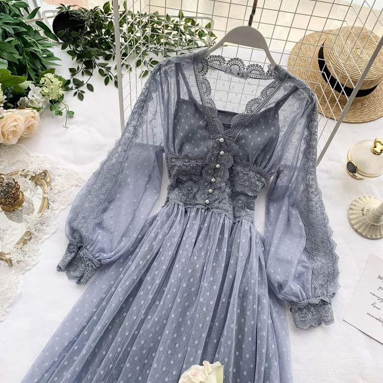 Lace Floral V-Neck Long Sleeve Polka Dot Dress 12
