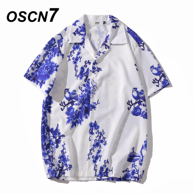 OSCN7 Casual Printed Short Sleeve Shirt Men Street 2020 Hawaii Beach Oversize Women Fashion Harujuku Shirts For Men XQ99
