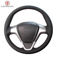 LQTENLEO Black Artificial Leather Car Steering Wheel Cover For Ford Fiesta 2008 2016 Figo Ecosport 2013 2017 B Max 2011 2019