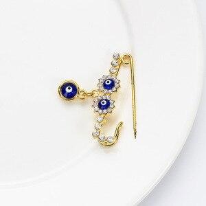 Image 3 - Islam Moeder Baby Turkse Evil Eye Crystal Charms Broche Pin Vrouwen Mannen Moslim Sieraden Gold Crystal Gesp Clips