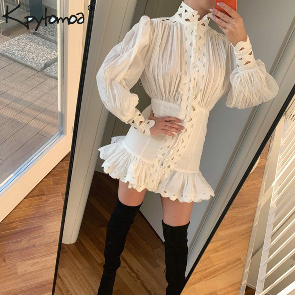 Vintage Stylish Hollow Out Ruffles Mini Bodycon Dress Women 2020 Fashion Larten Sleeve Patchwork Shirt Dresses Vestidos Mujer