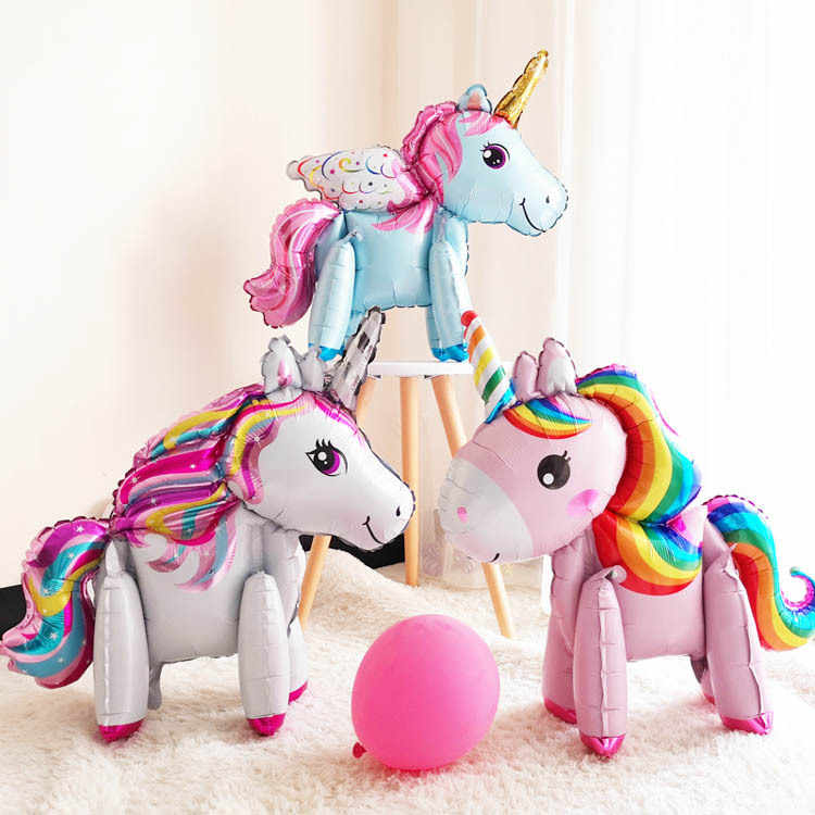 1pc aerostati della stagnola del basamento rosa ballon aria unicorno decorazioni della festa di compleanno per bambini commemorativa bambino mostra air balloons