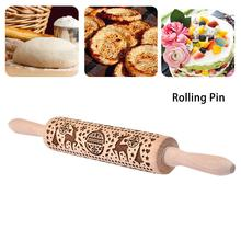 Christmas Rolling Pins Rock Snowflake Elk Wooden Embossing Kitchen Baking Cookies Dough Fondant Cake Patterned Roller
