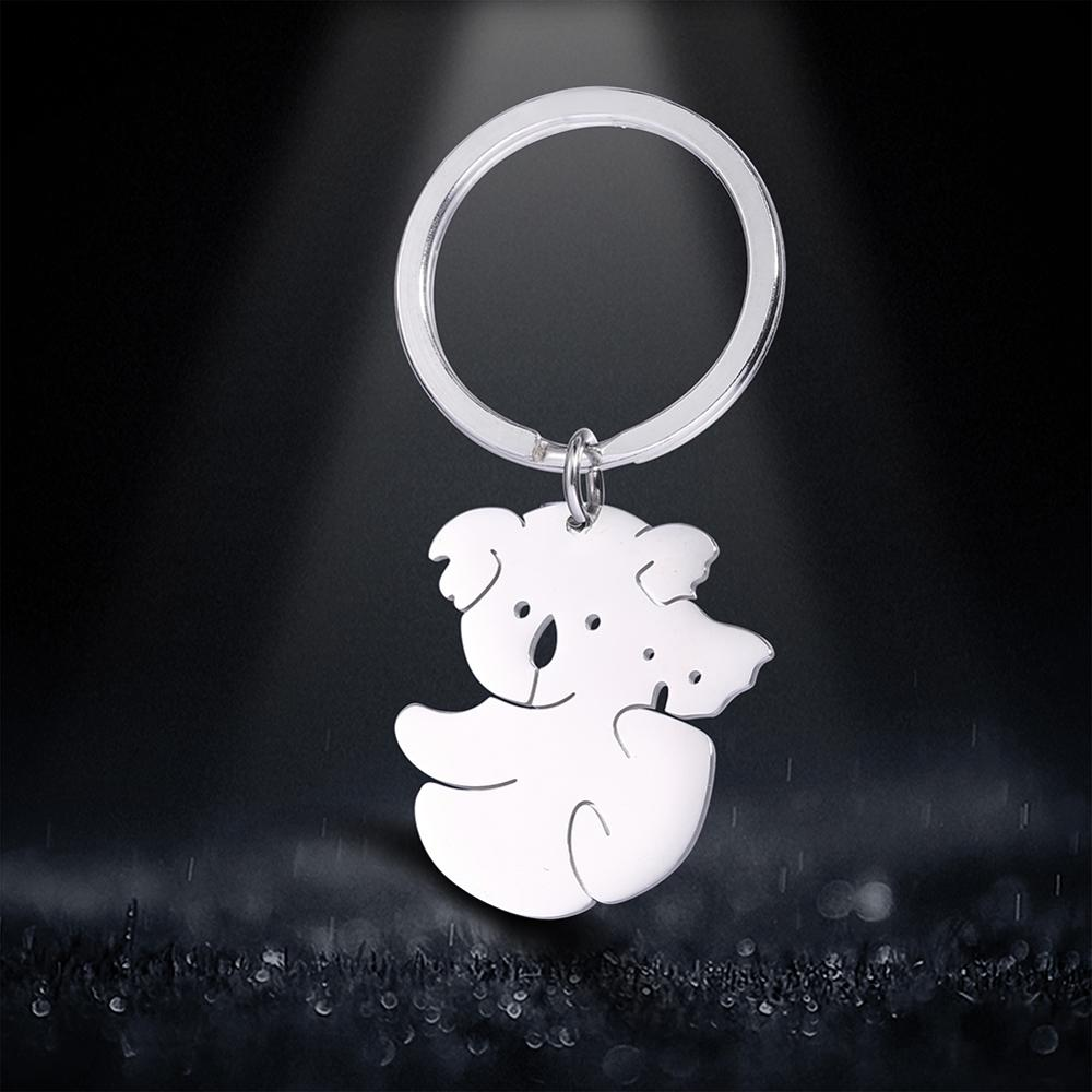 My Shape Key Chain Cute Koala Mother And Baby Animal 316L Stainless Steel Pendant Jewelry Keyring Gift For Women Keyholder