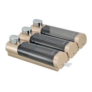 Image 3 - トリプルソープディスペンサーウォールマウントシャンプーディスペンサー洗剤シャワージェルボトルゴールド 300 ミリリットルプラスチック浴室アクセサリー家庭用