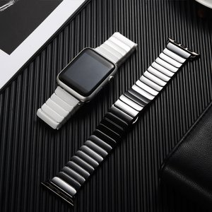 Image 4 - Ceramic Strap for Apple Watch Band 44 mm 40mm iwatch 42mm 38mm Luxury Stainless steel bracelet for Apple watch series 5 4 3 2 1