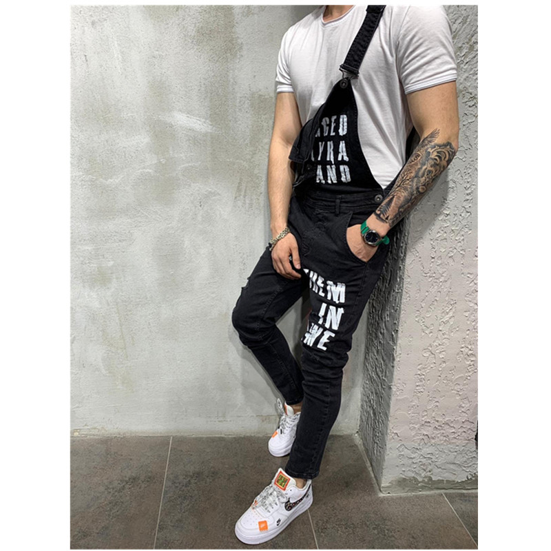 Men's Ripped Jeans Printed letters Jumpsuits Street Distressed Denim British style Bib Overalls Man Suspender Pants Work Clothes