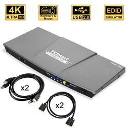 HDMI KVM переключатель двойной монитор 4 порта (2 HDMI и 2 VGA) вход 2 порта (HDMI) выход KVM переключатель HDMI 4K @ 30 Гц kvm-кабель и VGA кабель