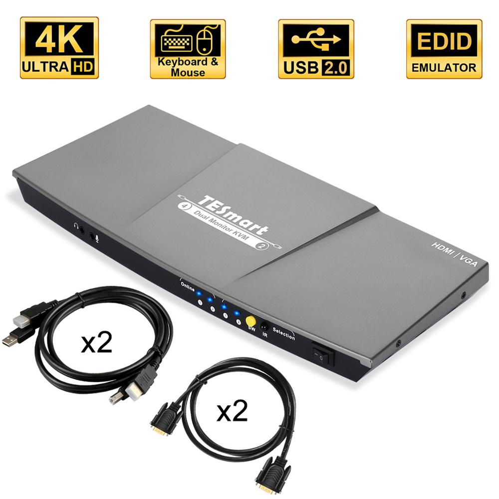 HDMI KVM Switch Dual Monitor 4 Port(2 HDMI And 2 VGA) Input 2 Port(HDMI) Output KVM Switch HDMI 4K@30Hz KVM Cable And VGA Cable