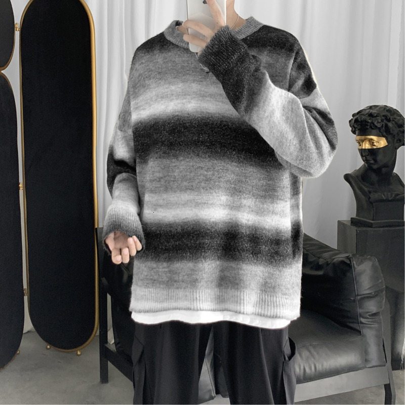 Winter Gradient Sweater Men's Warm Fashion Tie Dye Casual O-Neck Knit Pullover Man Wild Loose Long Sleeve Sweater Male Clothes