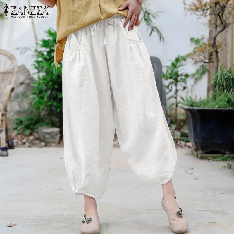 5XL ZANZEA Women Wide Leg Pant 2021 Summer Vintage Pant Casual Solid Elastic Waist Pant Lady Loose Pockets Maxi Bottom Plus Size