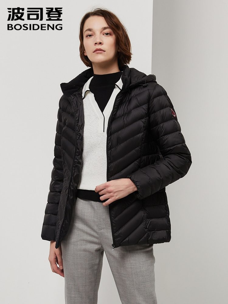 BOSIDENG 2019 New Winter Duck Down Jacket Women Hooded Duck Down Coat Mid-long High Quality Waterproof B90131022B