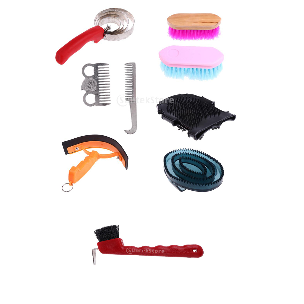 9pcs Horse Grooming Supplies Kit Brush Comb Horse Care Tool With Storage Bag Easy To Use And Carry