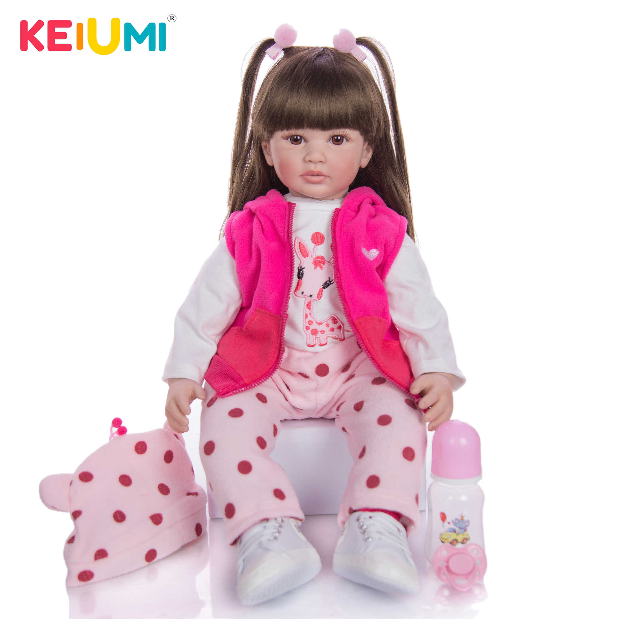 Reborn Toddler Baby Dolls 24/'/' Soft Vinyl Silicone Long Hair Doll Kids Xmas Gift