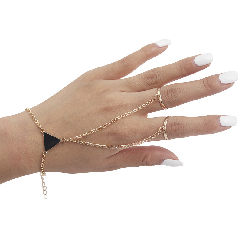 Women Punk Finger <font><b>Ring</b></font> <font><b>Bracelet</b></font> Triangle Conjoined <font><b>Bracelet</b></font> <font><b>Hand</b></font> Back <font><b>Chain</b></font> Jewelry image