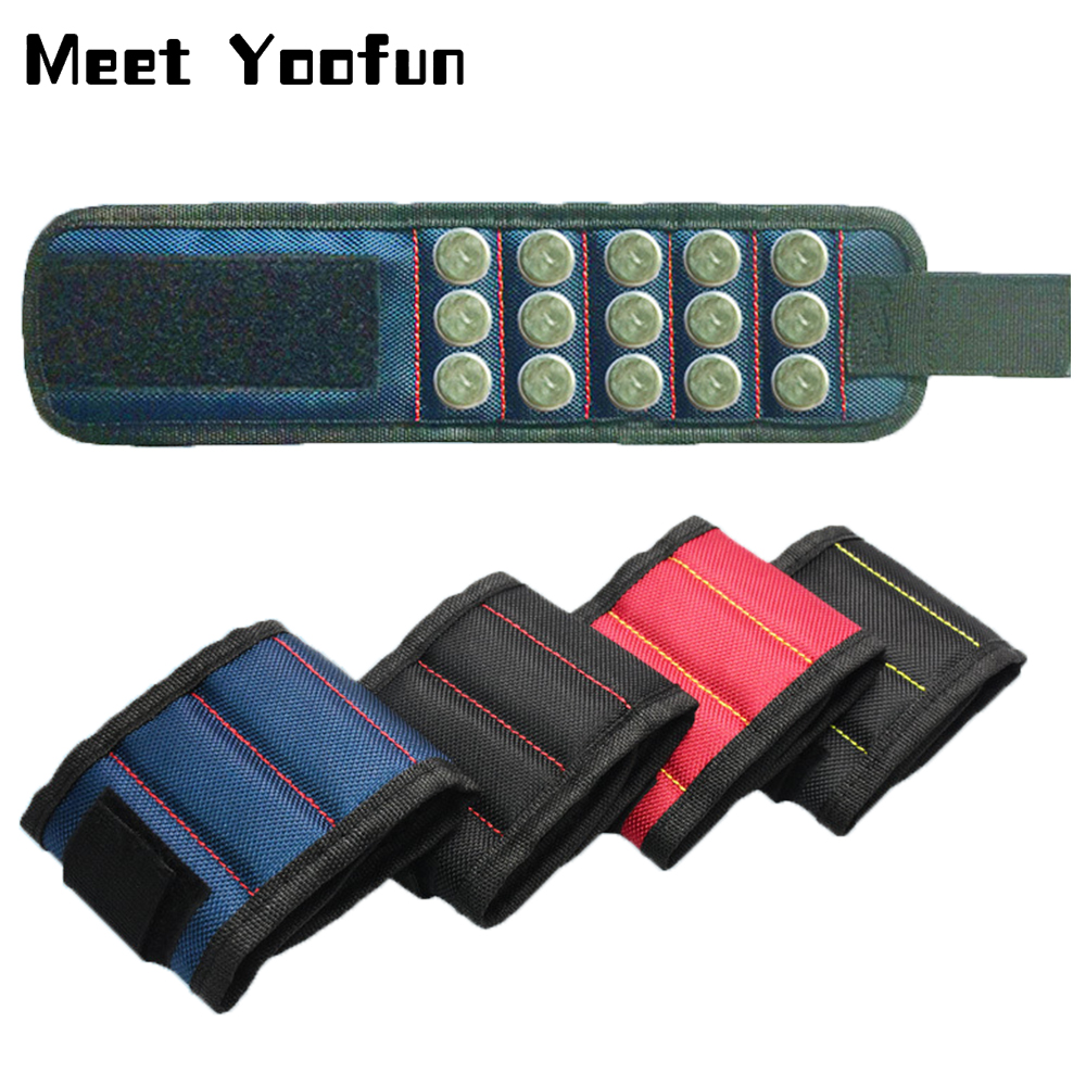 15 Magnets Wrist Bag Magnetic Bracelet Tool Storage Bag Repair Tool Magnetic Wristband Holding Screws Storage Tool Holder