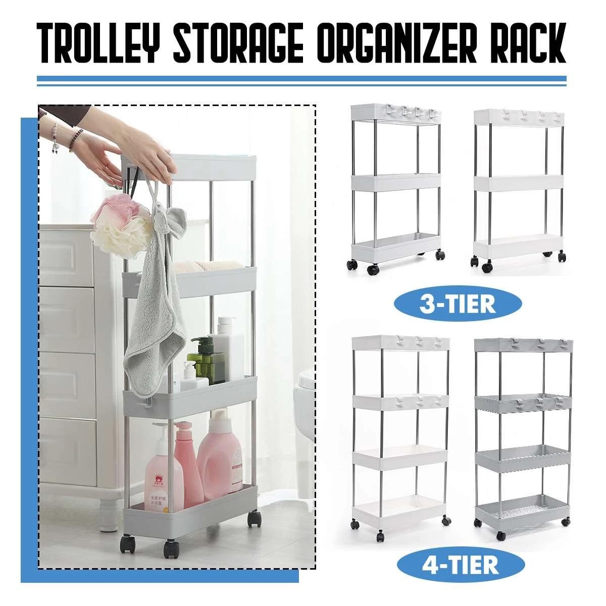 3 4 Tier Plastic Bathroom Slim Slide Out Trolley Storage Holder Shelf Rack Home Organizer With Wheel Hook Kitchen Accessories Storage Holders Racks Aliexpress