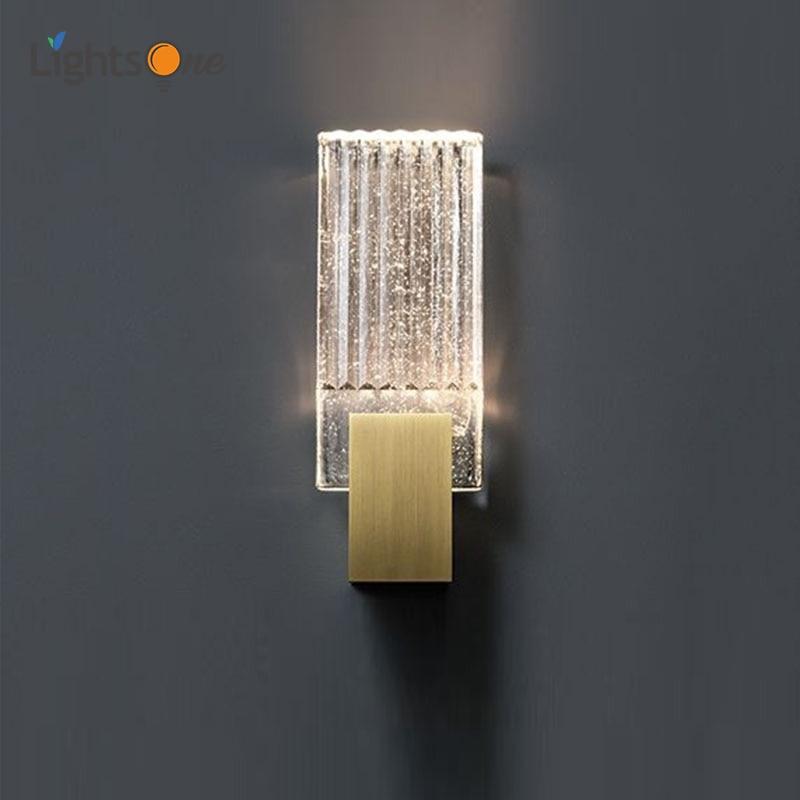 Modern minimalist living room crystal wall light American art bedside study designer wall lamp|LED Indoor Wall Lamps| |  - title=