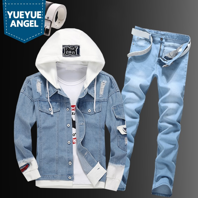 Casual Men Hooded Cowboy Jacket Zipper Jeans Two Piece Set Plus Size Street Single Breasted Hole Ripped Blue Denim Coat Suit