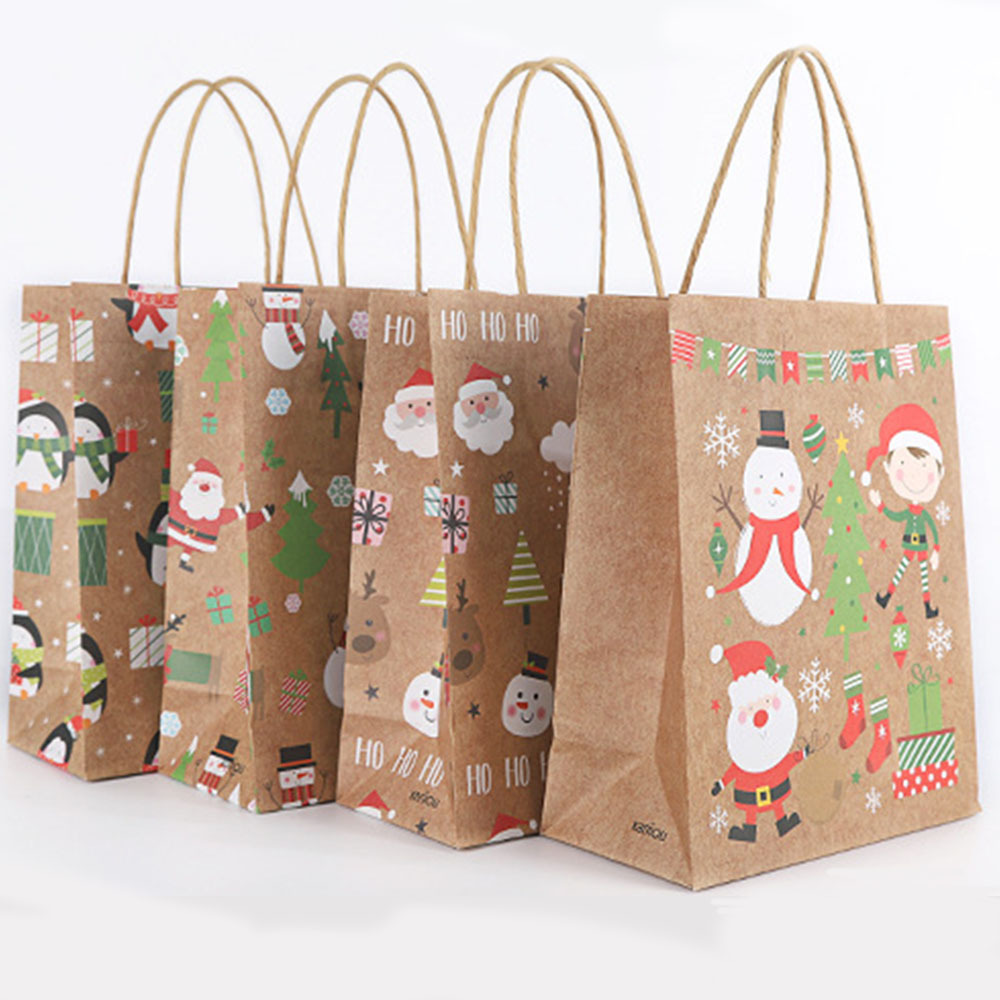 12 Pcs New Year Kraft Paper Gift Bags Christmas Favors Shopping Packing Bag  Present Packet Santa Claus Gift Bags