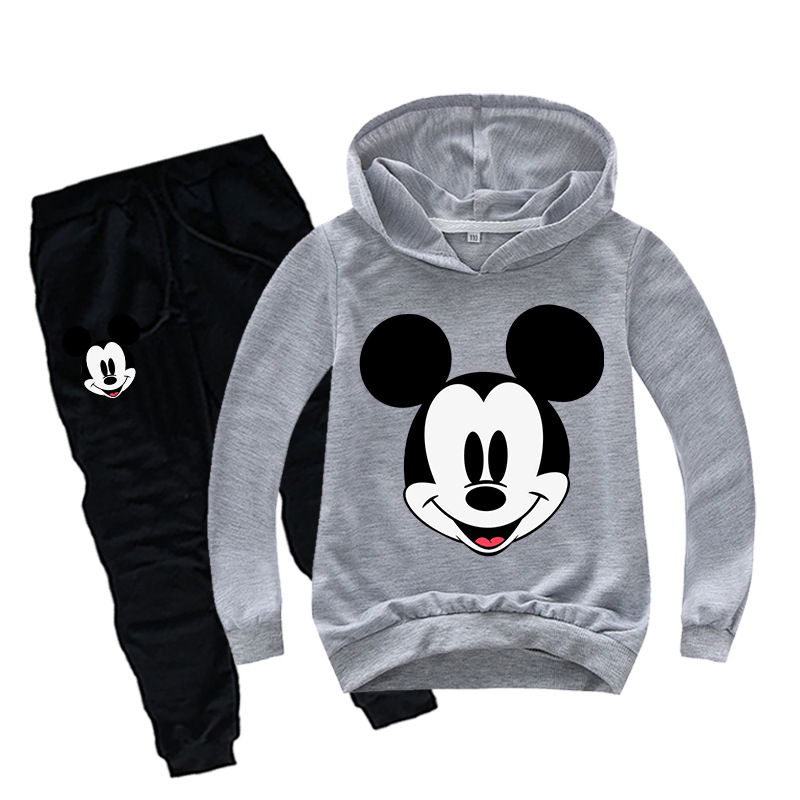 Spring Mickey Minnie Boys Girls Clothing Sets Autumn Casual Teenage Long Sleeve Sweatshirt + Pant 2PCS Sport Suits Kids Clothes