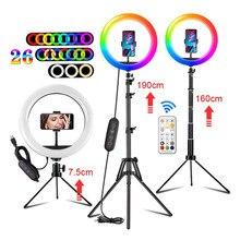 10 ''RGB Ring Licht USB LED RingLight Selfie Video Lampe Kit w/Stativ Fernbedienung für Make-Up Video licht Für Youtube Tik Tok
