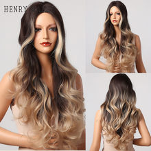 HENRY MARGU Honey Blonde Highlighted Wigs Ombre Brown Long Body Wave Synthetic Wig for Black Women Daily Cosplay Heat Resistant