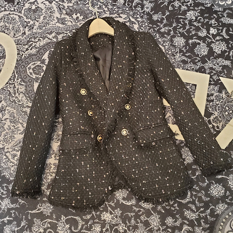 Fashion Double Breasted Frayed Trims Tweed Blazers Coat Vintage Lapel Long Sleeve Female Outerwear Office Lady Chic Coat 2020