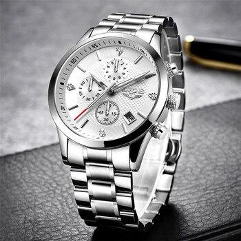 2020 LIGE Men Watches Top Luxury Brand Sport Quartz Watch Men Chronograph Waterproof Wrist Watch Man Stainless Steel Date Clock 1