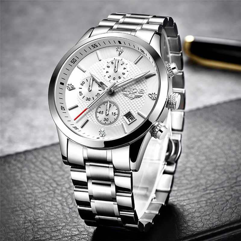 2020 LIGEนาฬิกาผู้ชายผู้ชายแบรนด์หรูกีฬานาฬิกาควอตซ์ผู้ชายChronographนาฬิกาข้อมือกันน้ำManสแตนเลสนาฬิกา