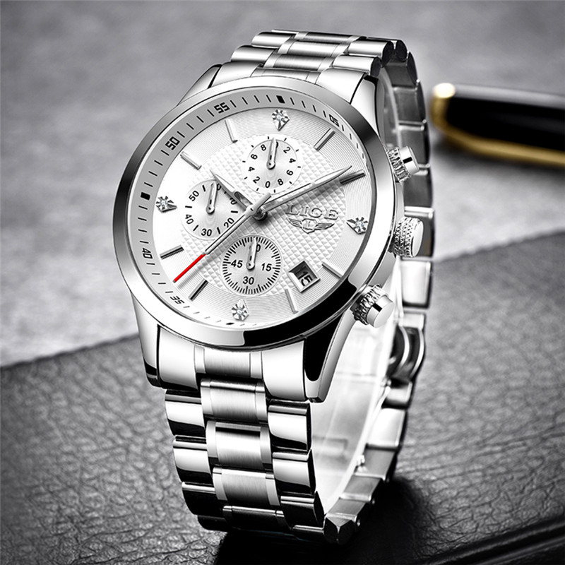 2020 LIGE Men Watches Top Luxury Brand Sport Quartz Watch Men Chronograph Waterproof Wrist Watch Man Stainless Steel Date Clock